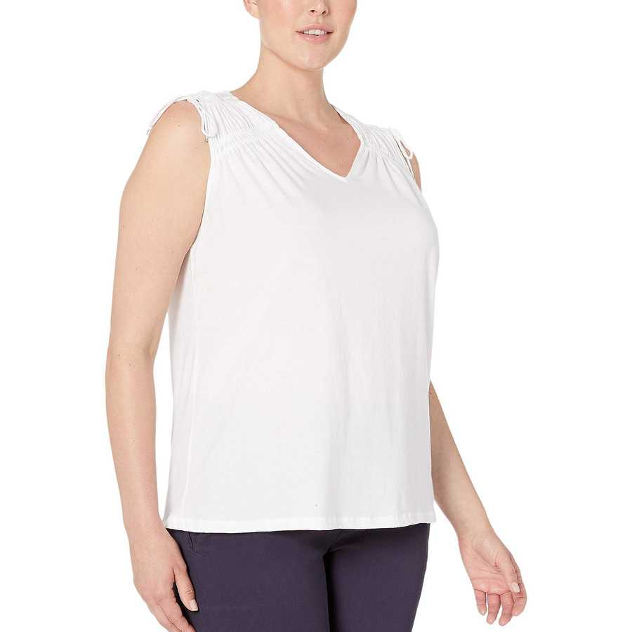 Lauren Ralph Lauren White Plus Size Tassel-Trim Cinched Top