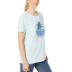 Life İs Good Bermuda Blue Beach Patterns Cool Tee™ - Thumbnail