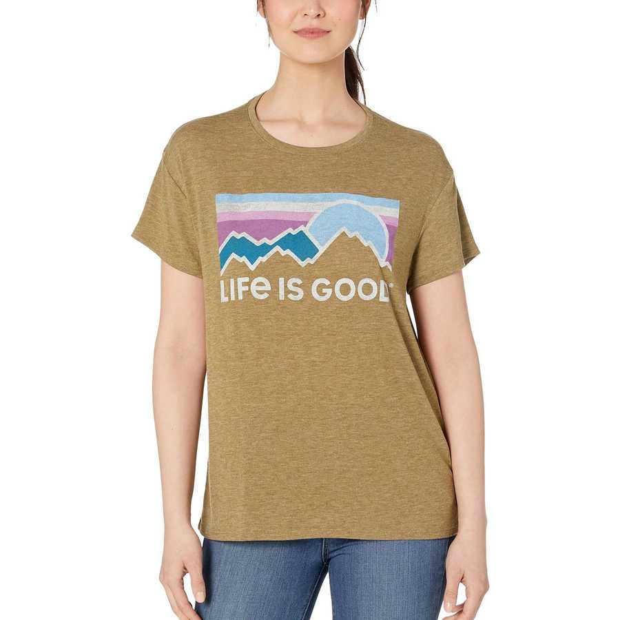 Life İs Good Fatigue Green Sunset Hills Favorite Slouchy Tee