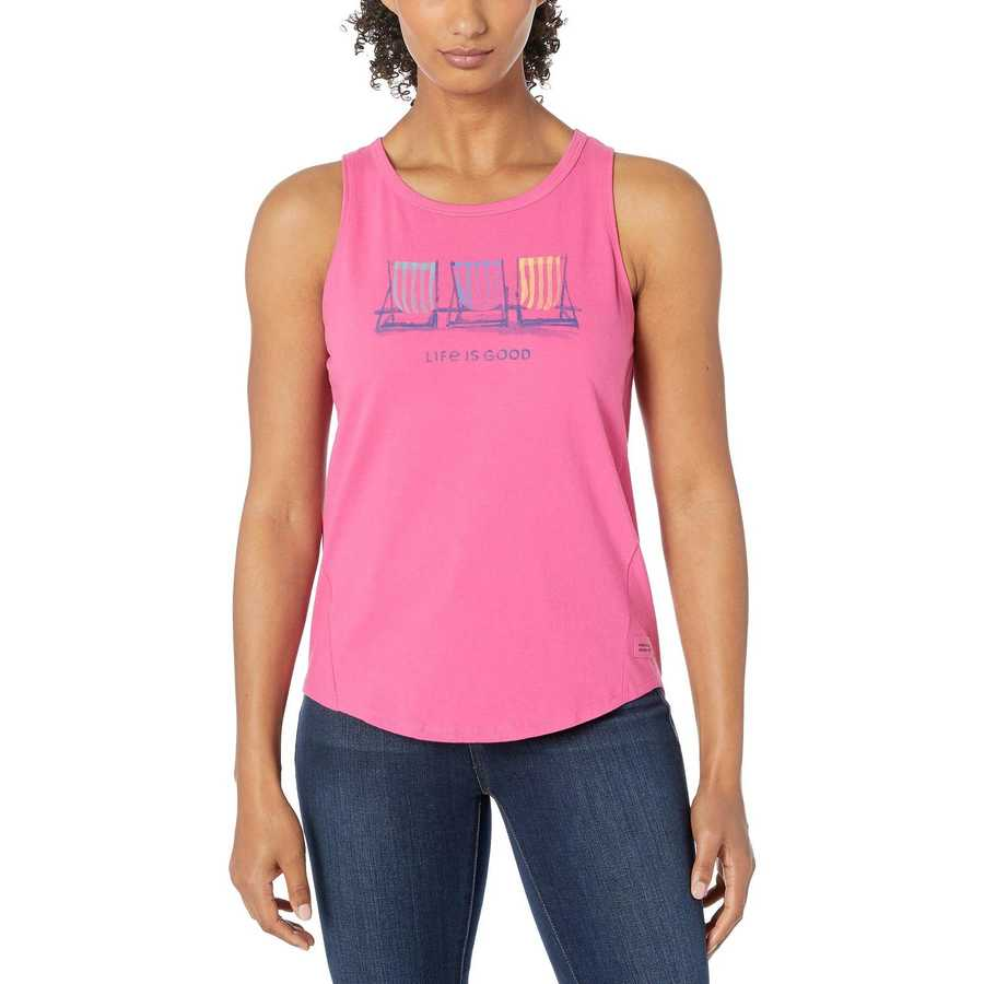 Life İs Good Fiesta Pink Beach Chairs Watercolors High-Low Crusher™ Tank Top