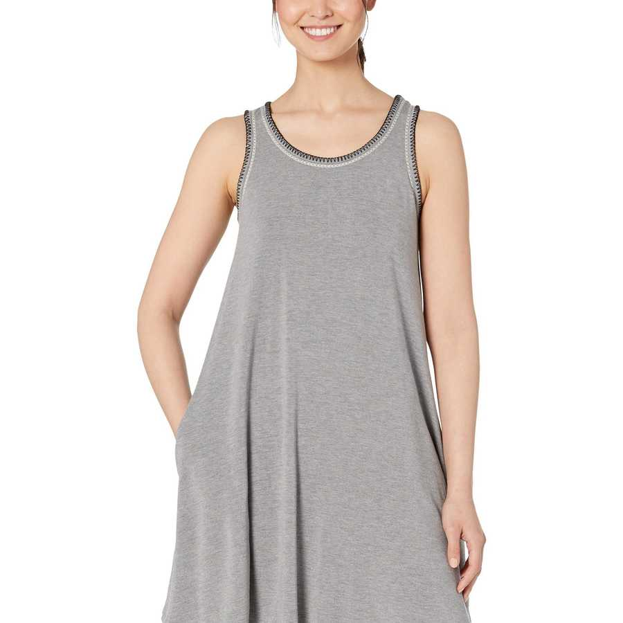 Life İs Good Heather Gray Trapeze Pocket Dress