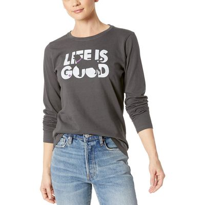 Life İs Good - Life İs Good Night Black Knockout Dog Crusher Long Sleeve T-Shirt