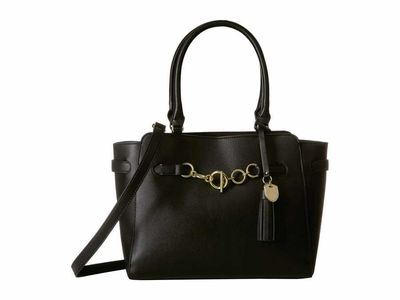 London Fog - London Fog Black Vivian Double Shoulder Satchel Handbag