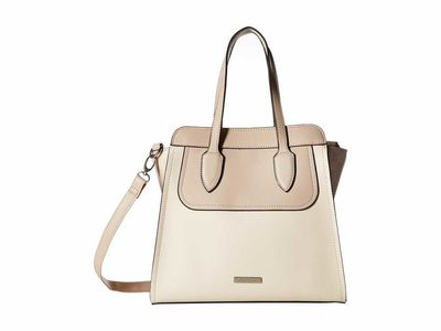 London Fog - London Fog Ecru/Taupe/Ecru Signature Kensington North/South Satchel Satchel Handbag