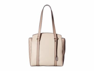 London Fog - London Fog Ecru/Taupe/Ecru Signature Sammy Shopper Tote Handbag