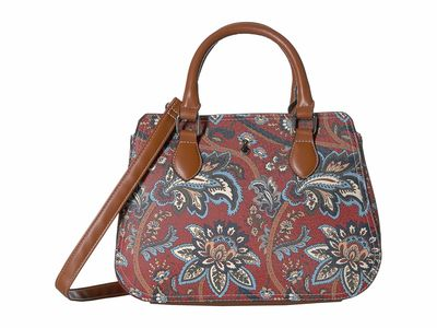 London Fog - London Fog Floral Tapestry Print/Coganc Trim Berkley Satchel Handbag