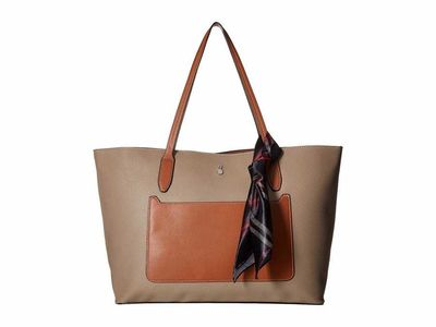 London Fog - London Fog Mushroom/Cognac Trim Mercer Tote Handbag