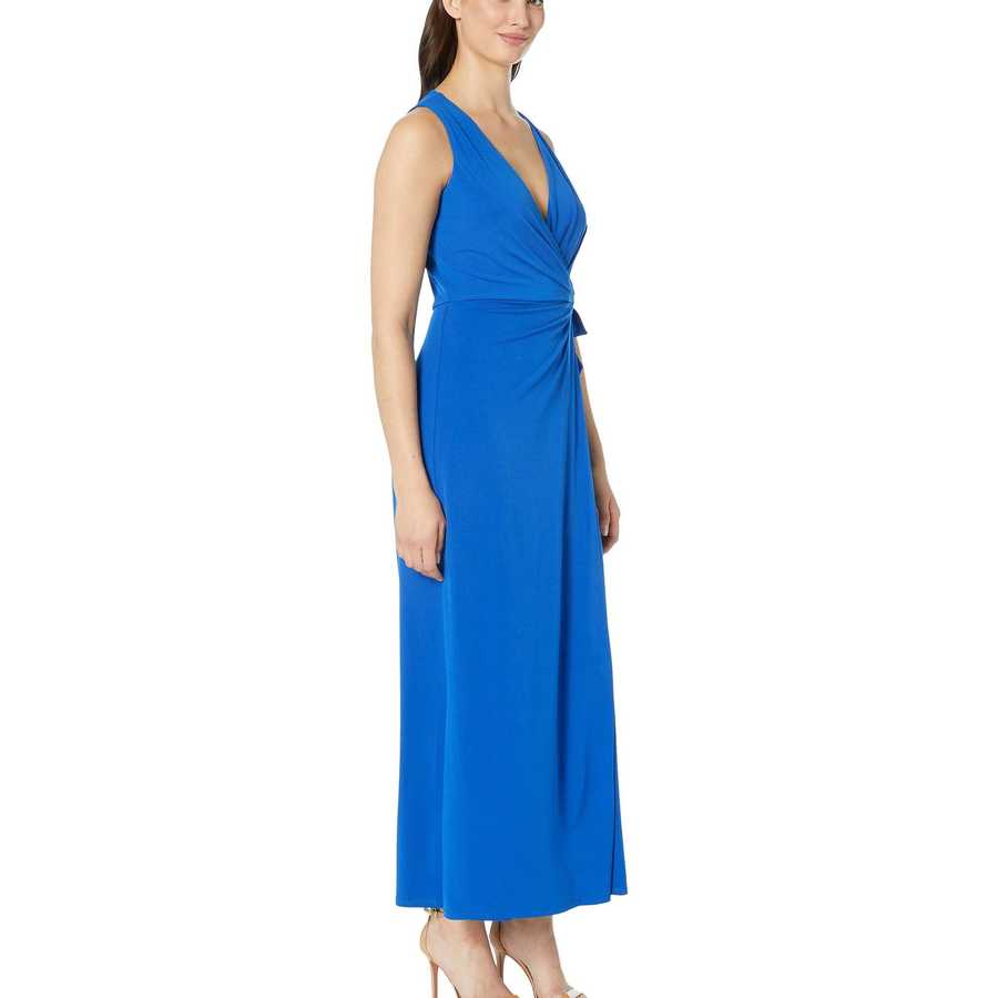 London Times Azure Blue Wrap Top Overlay Jumpsuit