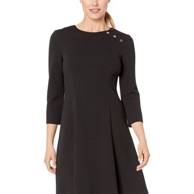 London Times Black Fit-And-Flare Dress With Buttons