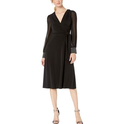 London Times - London Times Black Flared Wrap Midi Dress With Sheer Sleeve