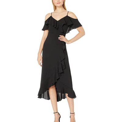 London Times - London Times Black Ruffle Cold Shoulder Maxi