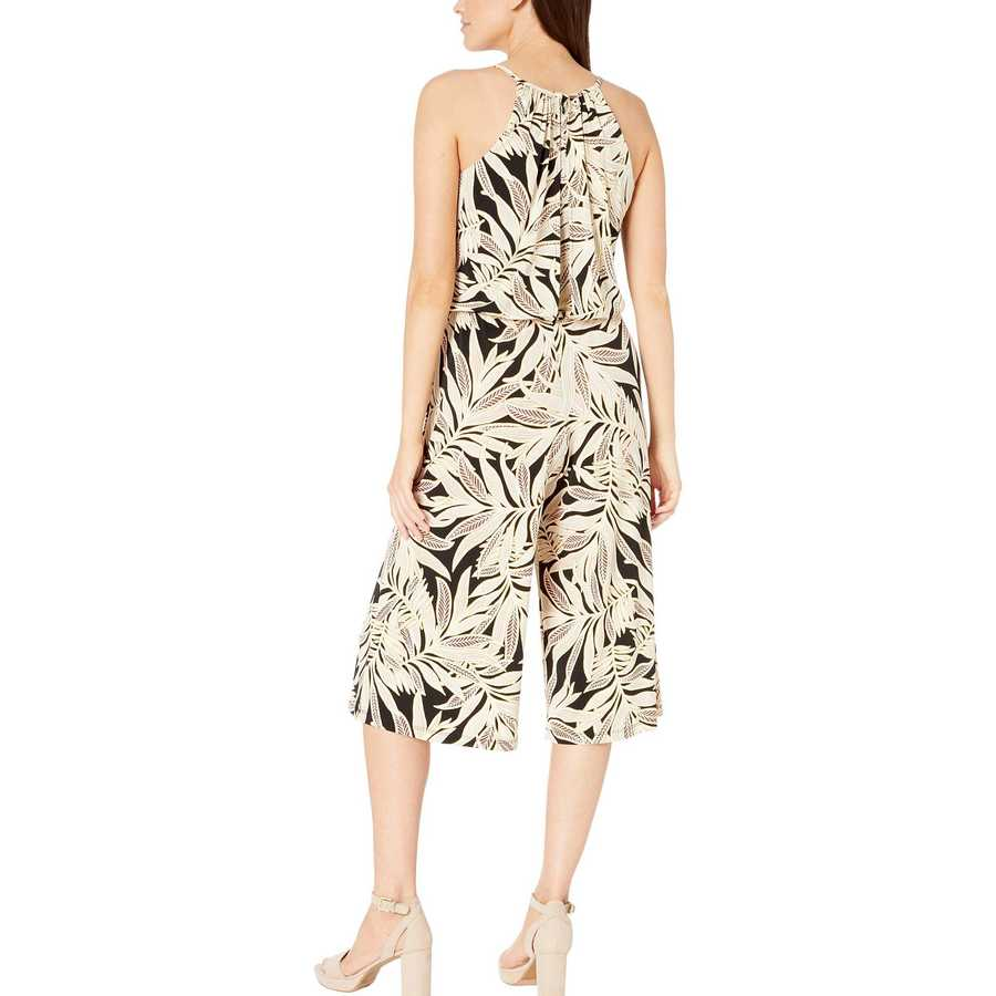 London Times Black Rye Natural Palm Cropped Jumpsuit