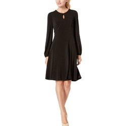 London Times Black Solid Bishop Sleeve Fit-And-Flare Dress - Thumbnail