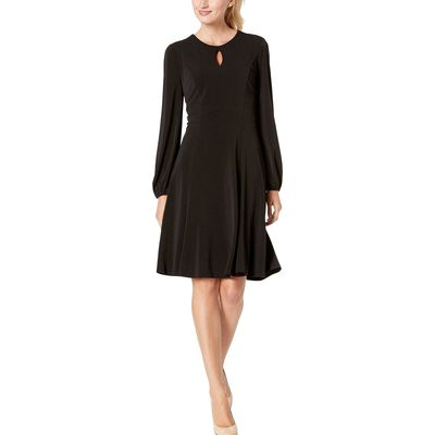London Times - London Times Black Solid Bishop Sleeve Fit-And-Flare Dress
