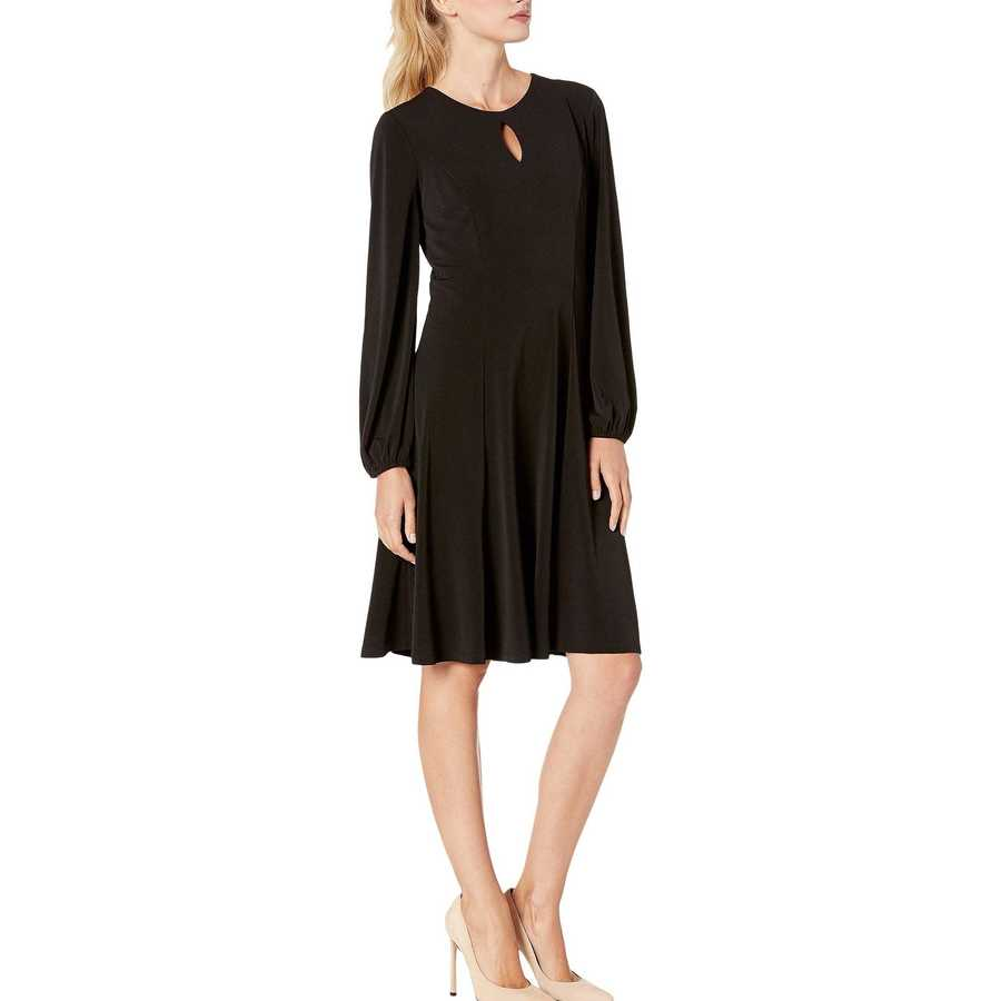 London Times Black Solid Bishop Sleeve Fit-And-Flare Dress