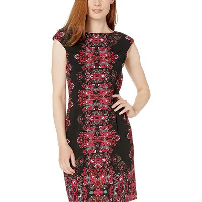 London Times - London Times Black/Pink Jewel Box Cap Sleeve Crepe Dress