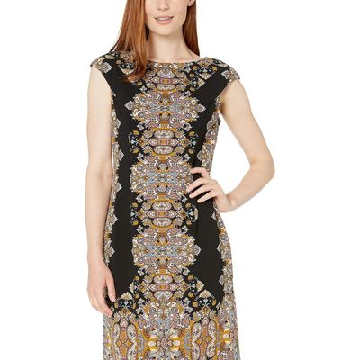 London Times - London Times Black/Silver Jewel Box Cap Sleeve Crepe Dress