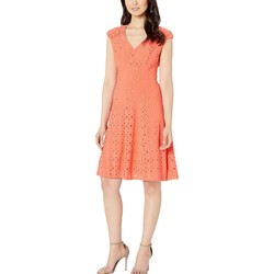 London Times Coral Shirred Shoulder Fit And Flare - Thumbnail
