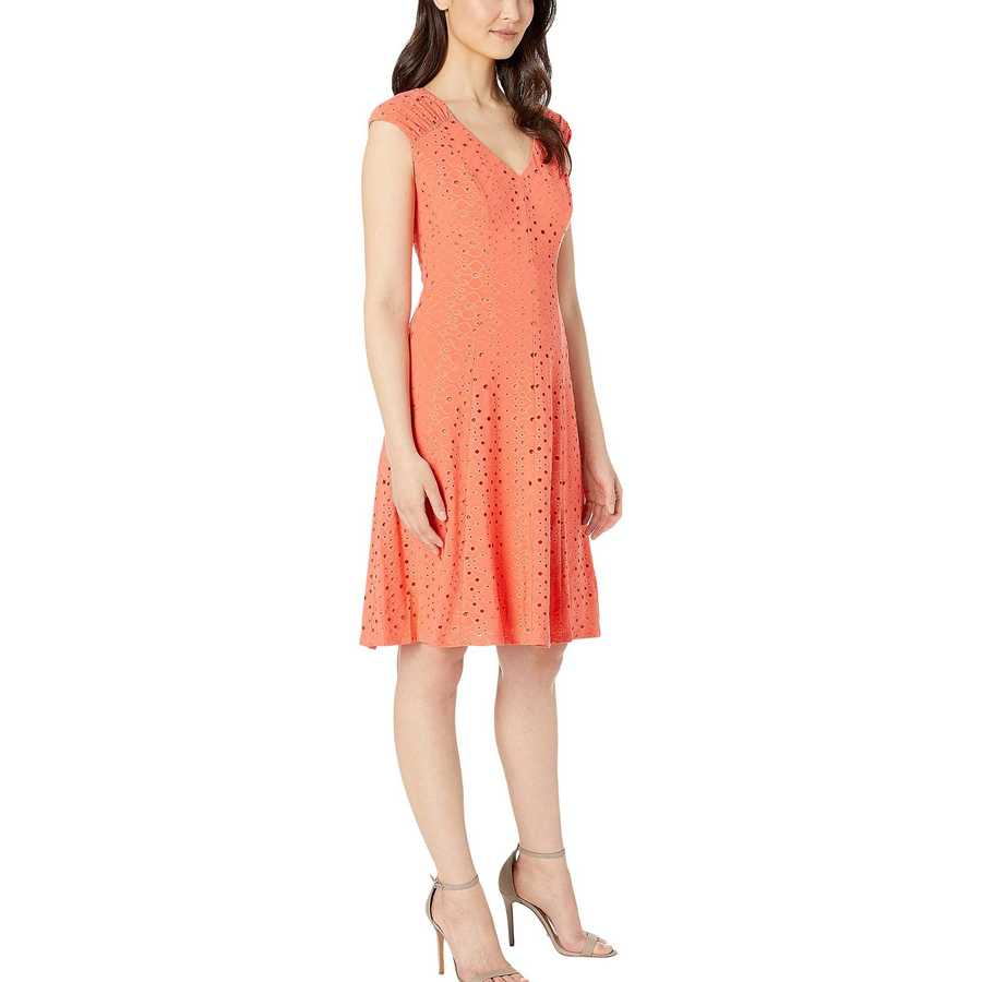 London Times Coral Shirred Shoulder Fit And Flare