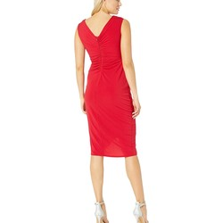 London Times Cranberry Shirred Wrap Dress With Side Ruffle Detail - Thumbnail