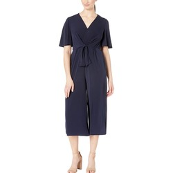 London Times Dark Navy Tie Front Jumpsuit - Thumbnail