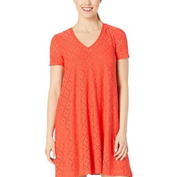 London Times Fiesta Red Embroidered Jersey V-Neck A-Line Dress - Thumbnail