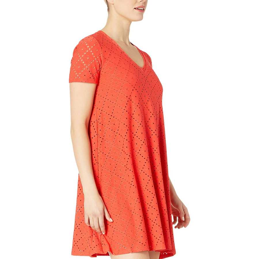 London Times Fiesta Red Embroidered Jersey V-Neck A-Line Dress