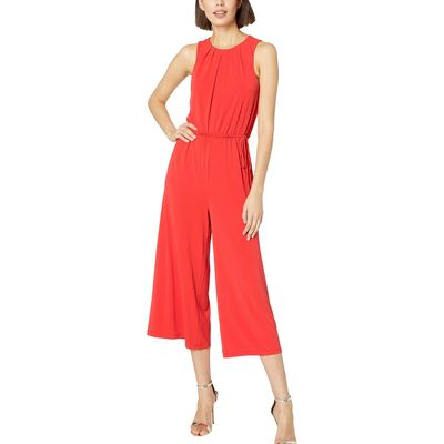 London Times - London Times Fiesta Red Flared Jumpsuit W/ Pleated Neck