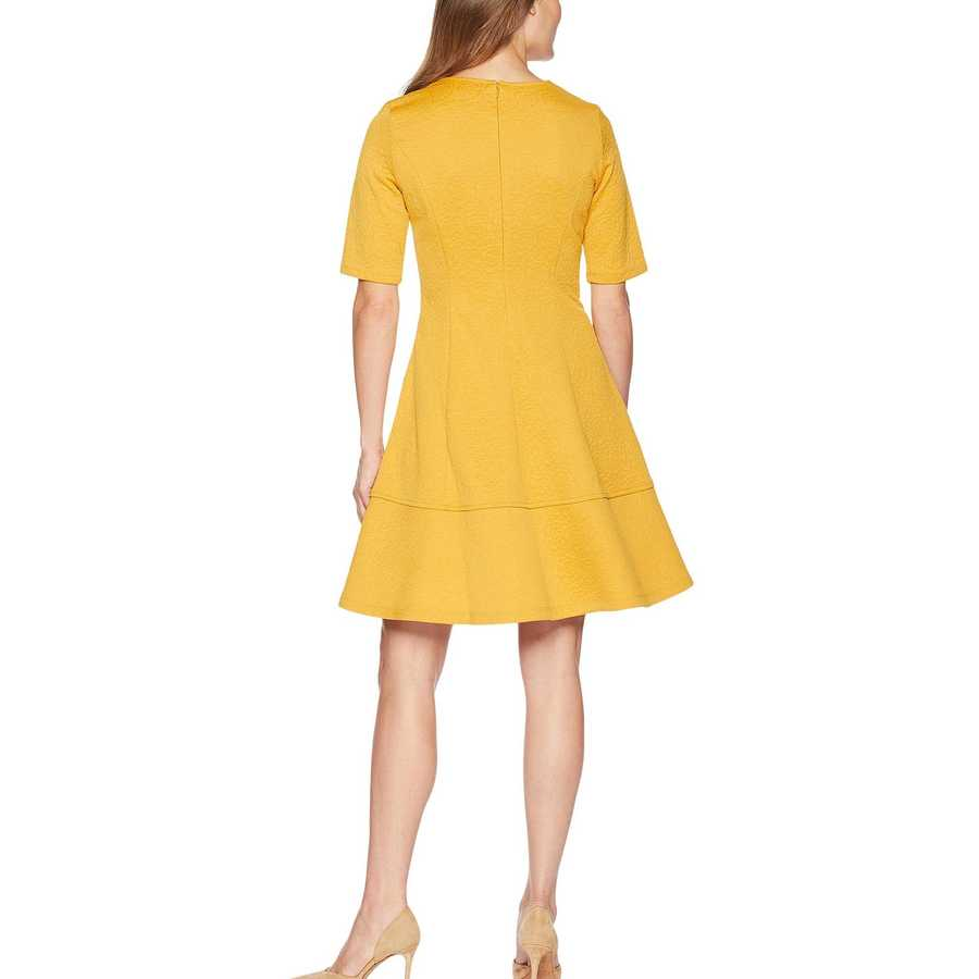 London Times Gold Jacquard Elbow Sleeve Fit & Flare Dress