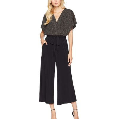 London Times - London Times Gold/Black Faux Wrap Top Gaucho Jumpsuit