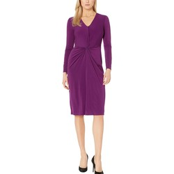London Times Grape Center Front Twist Sheath Dress - Thumbnail