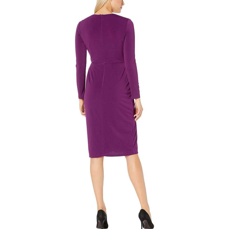 London Times Grape Center Front Twist Sheath Dress