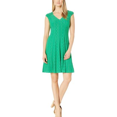 London Times - London Times Green Bean Shirred Shoulder Fit And Flare