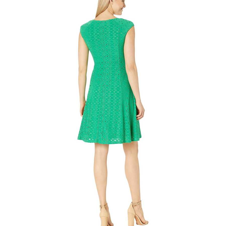 London Times Green Bean Shirred Shoulder Fit And Flare