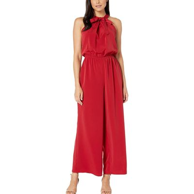 London Times - London Times Henna Red Tie Neck Halter Jumpsuit