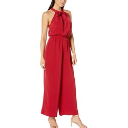 London Times Henna Red Tie Neck Halter Jumpsuit - Thumbnail
