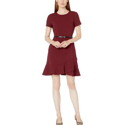 London Times - London Times Merlot Ruffle Hem A-Line Dress