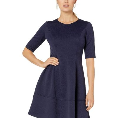 London Times - London Times Navy Jacquard Elbow Sleeve Fit & Flare Dress