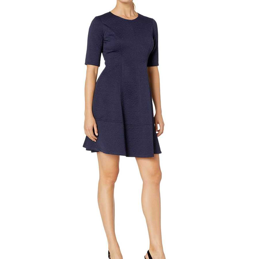London Times Navy Jacquard Elbow Sleeve Fit & Flare Dress