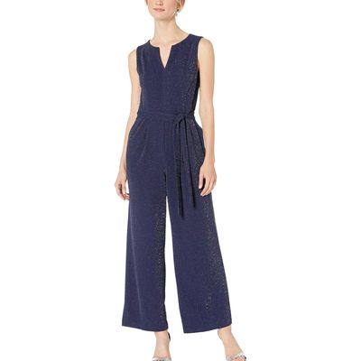 London Times - London Times Navy Split-Neck Jumpsuit