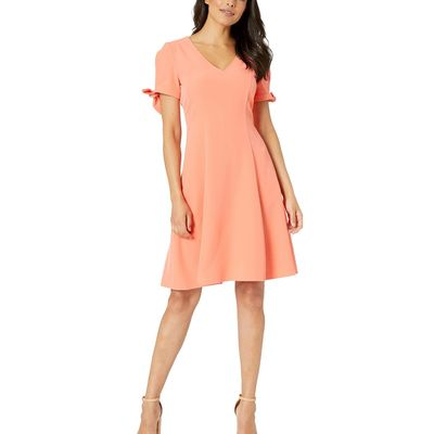 London Times - London Times Peach V-Neck Fit & Flare W/ Tie Sleeve