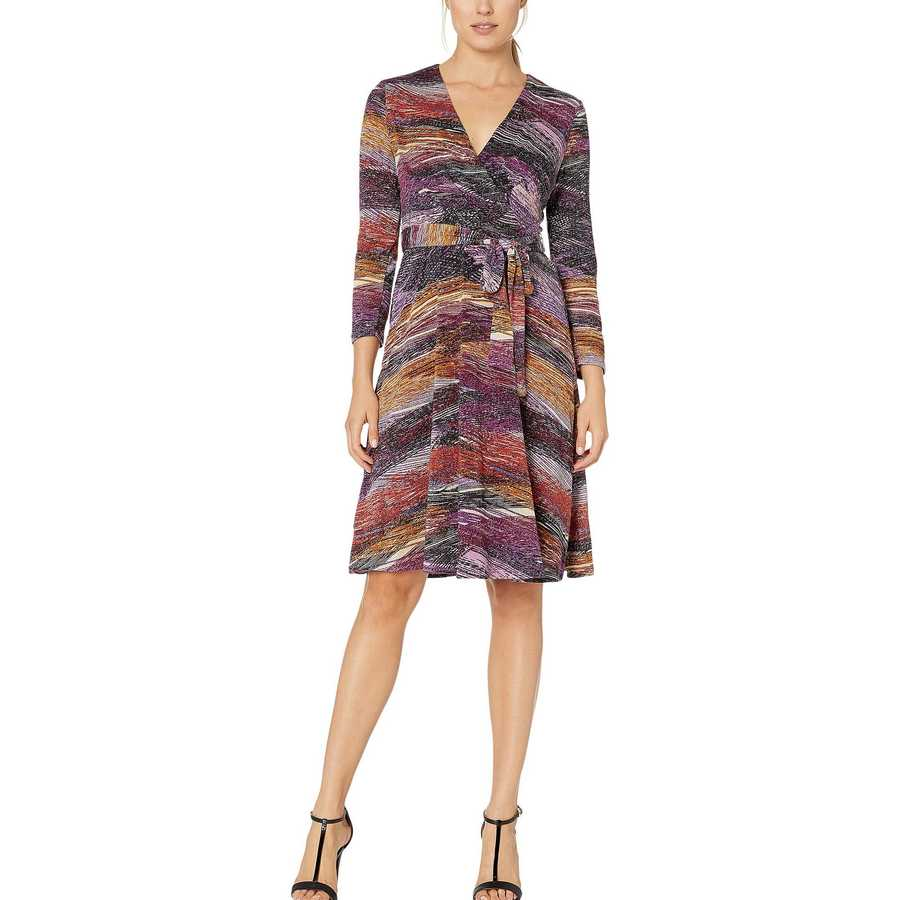 London Times Plum Wrap Dress