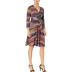 London Times Plum Wrap Dress - Thumbnail