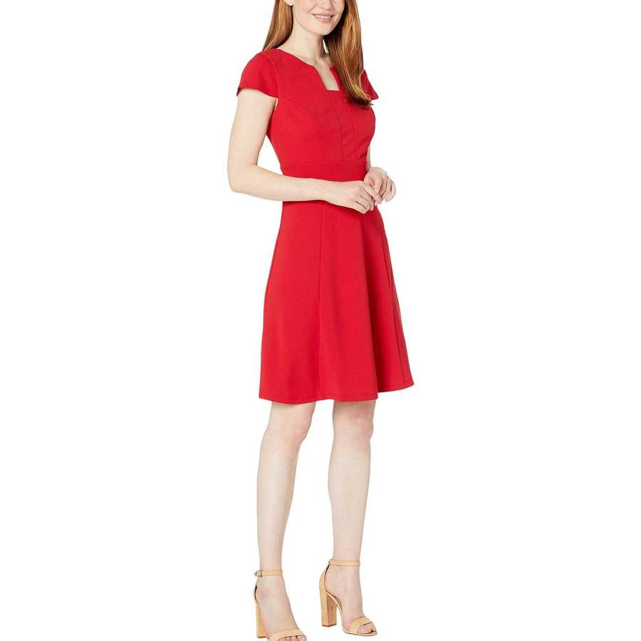 London Times Red Fit-And-Flare Dress