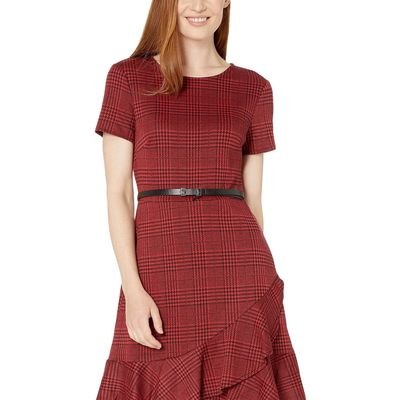 London Times - London Times Red/Black Plaid Short Sleeve Ruffle Dress