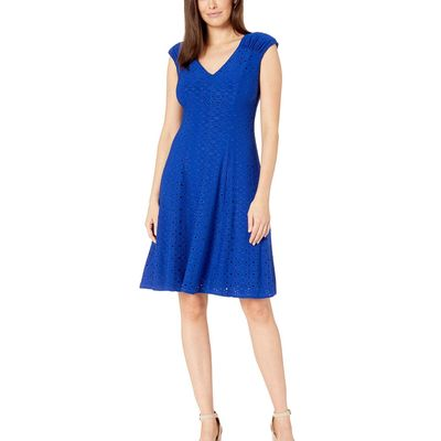 London Times - London Times Royal Blue Shirred Shoulder Fit And Flare
