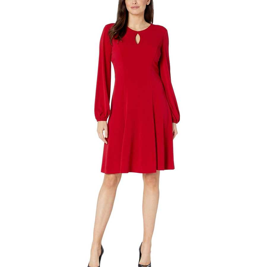 London Times Scarlet Solid Bishop Sleeve Fit-And-Flare Dress