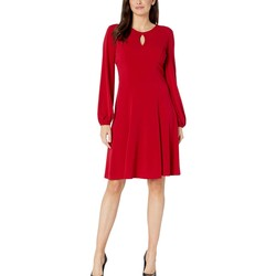 London Times Scarlet Solid Bishop Sleeve Fit-And-Flare Dress - Thumbnail