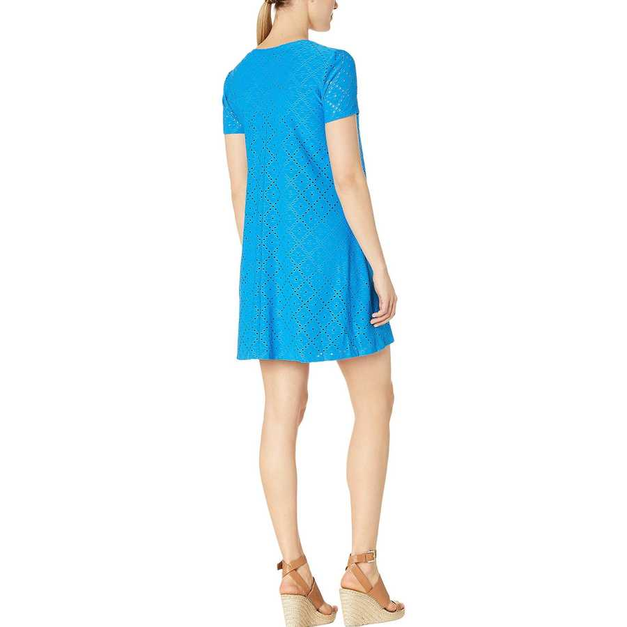 London Times Sea Bue Embroidered Jersey V-Neck A-Line Dress