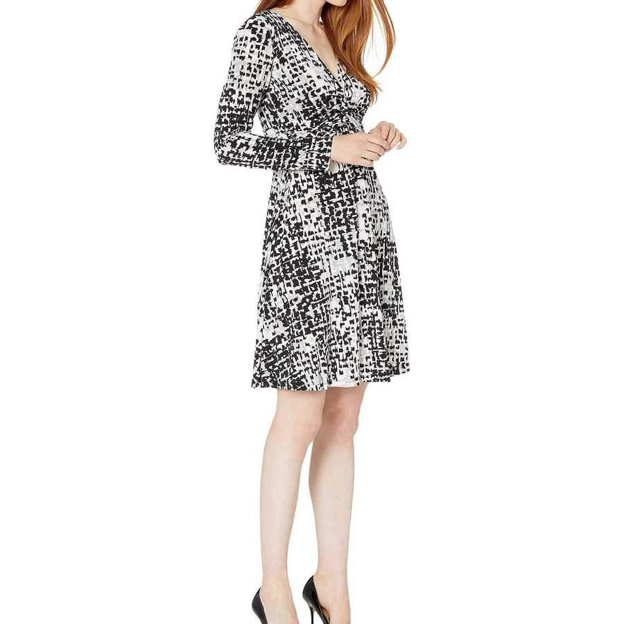 London Times Soft Grey Cf Twist Fit-And-Flare Dress